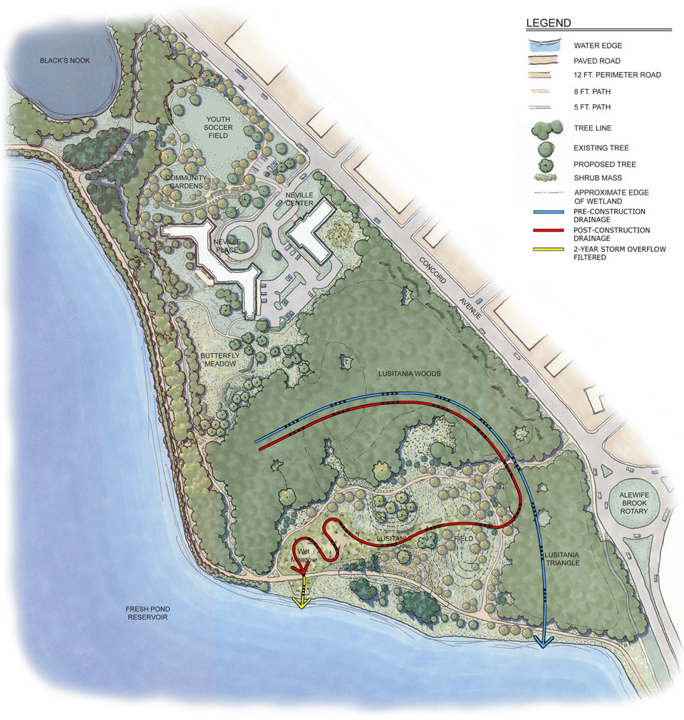 FreshPond_SitePlanWatershed Flow