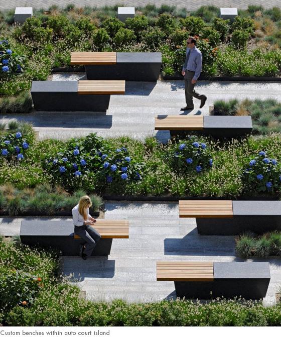custom benches within auto court island