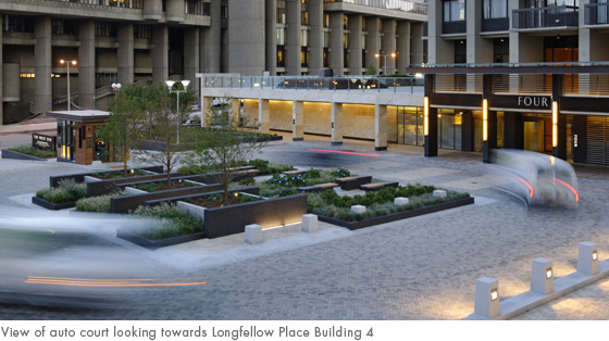 view of auto court looking towards longfellow place building